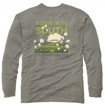 Born In The South: Heather Grey Long Sleeve